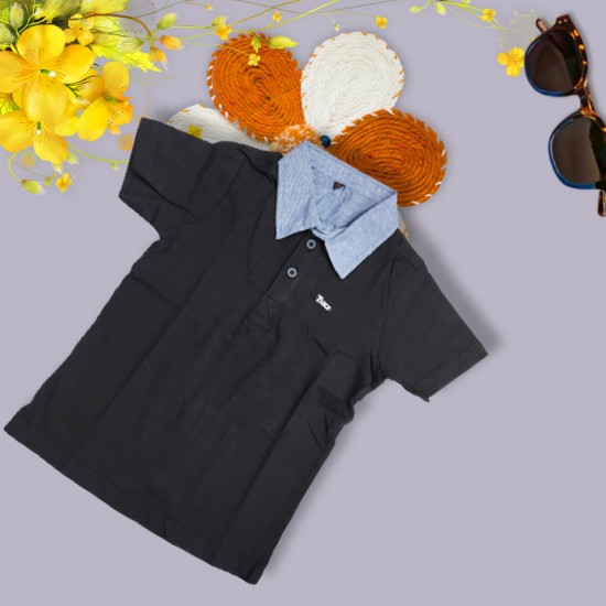 Polo T Shirt For Boys Short Sleeve Slim Fit Black Color